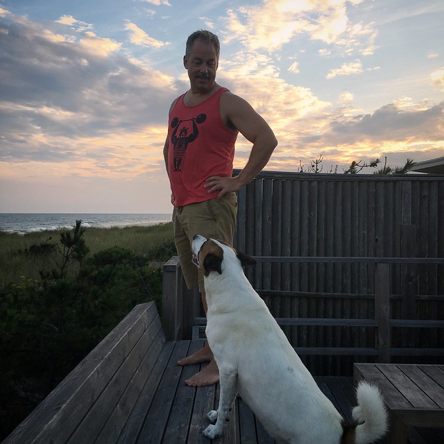 Man + Dog + Beach + Sunset