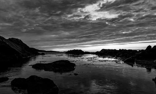 Night by the sea. B/W