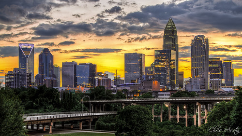 city sunset skyline clouds sunrise downtown charlotte dusk uptown charlotteskyline