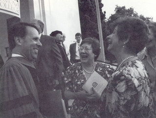 Hearty congratulations and greetings abounded for new Pomona College President Peter W. Stanley at his inauguration celebration on October 14, 1991