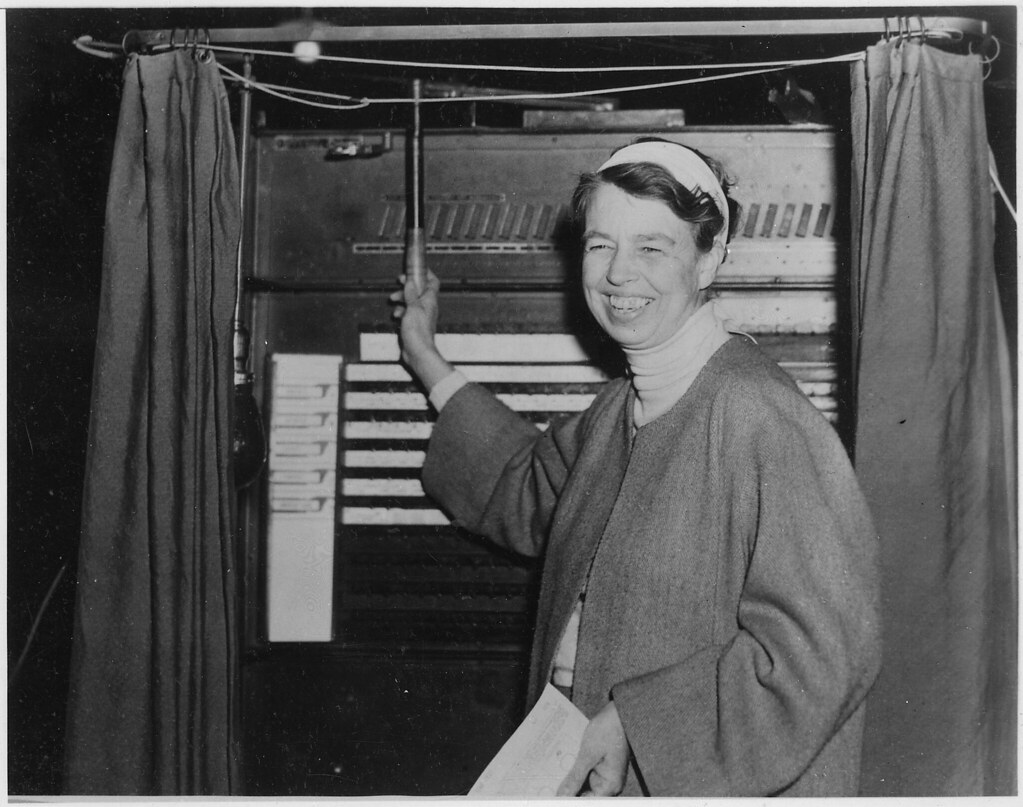 Eleanor Roosevelt votes in Hyde Park, New York, 11/03/1936