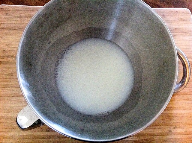 Warmed Milk and Water in Bowl of Stand Mixer