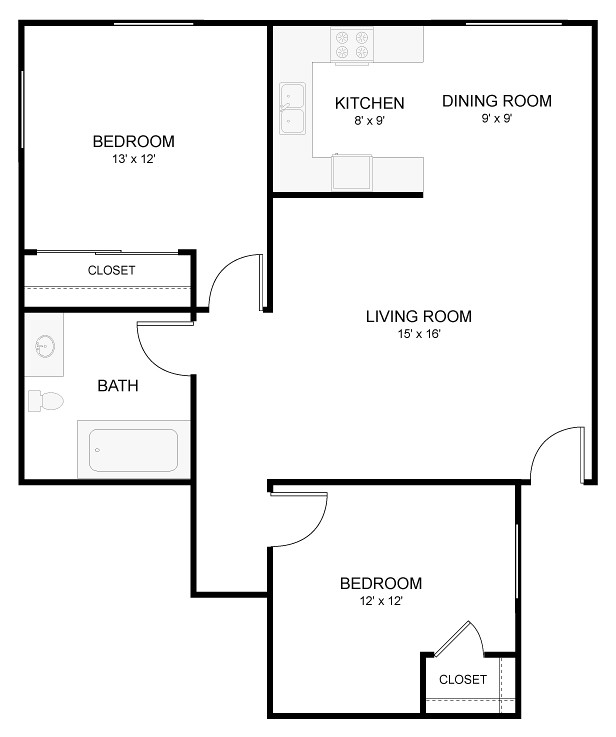 sample floor plan of our beautiful 1 bedroom apartments