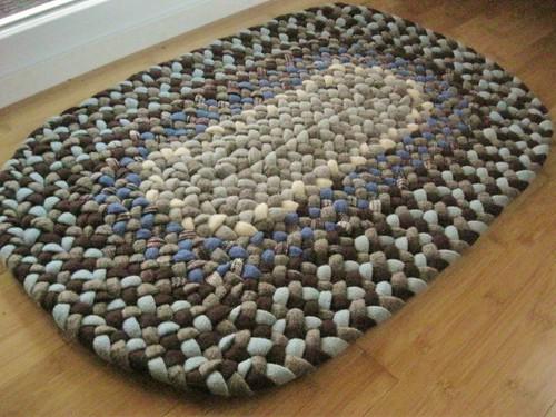 Handmade Wool Oval Braided Rug or Bath Mat in Sky Bue and Chocolate Brown
