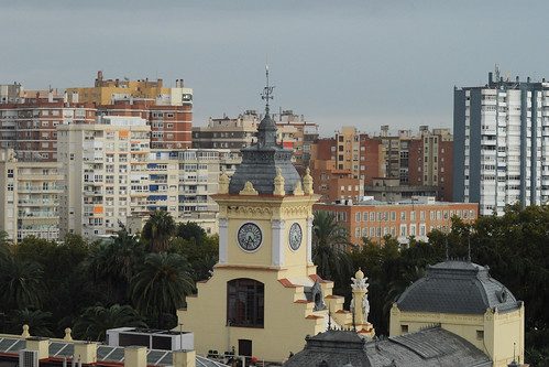 Ayuntamiento and Malagueta highrises from the Alcazaba