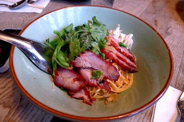 ratchaburi crab & pork dry noodle (handmade egg noodles, roasted pork,  lump crab meat, yu choy, scallion)