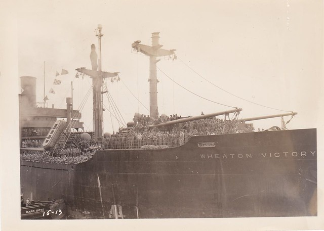 August 3, 1946,  Arrival of the SS Wheaton Victory<br> Wheaton Victory arriving at New York from Bremerhaven, Germany with 1,372 army troops on board. Image courtesy of Colin Smith.