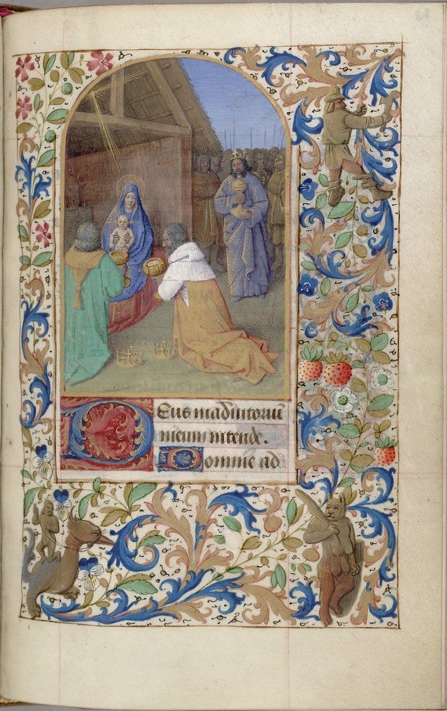 stable scene from New Testament : manuscript painting