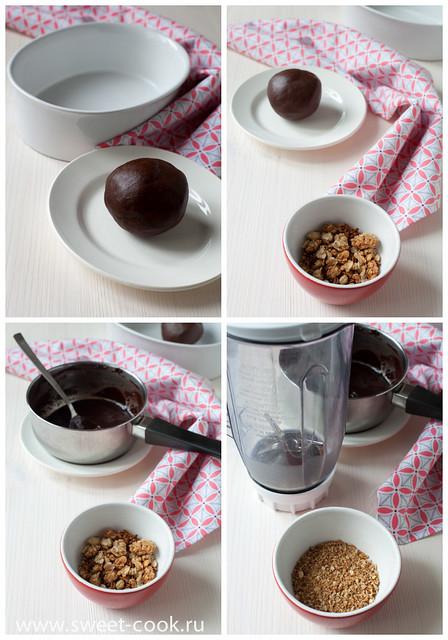 шоколадное тесто и мюсли