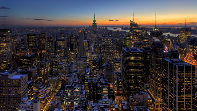 Snow Covered Manhattan Sunset
