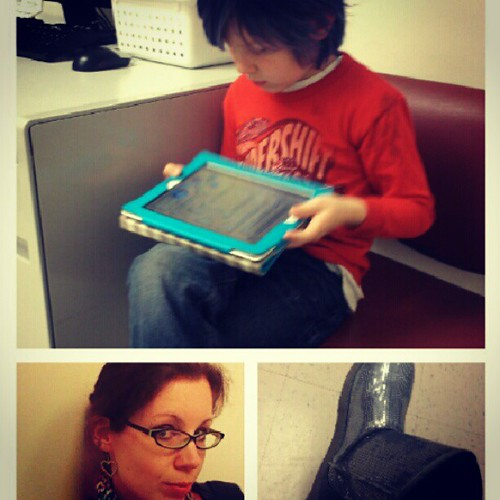 From the other night. A 7pm doctor's appointment means waiting almost an hour to be seen. But you do what you have to...and bring along your son's maze/puzzle/math apps loaded iPad for him, and your Nook for yourself! #doctor #child #selfportrait