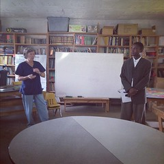 Sandy Boultinghouse and Pastor Johnstone Eria discussing the library. #KenyaRelief2012