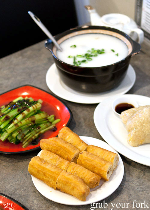 congee with thousand year egg and pork, sticky rice, you tiao and vegetables at 375 congee noodle house, chatswood
