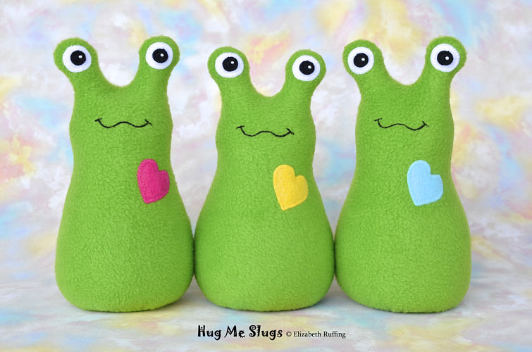 Slugterra and grass green fleece Hug Me Slugs, original stuffed animal art toy by Elizabeth Ruffing