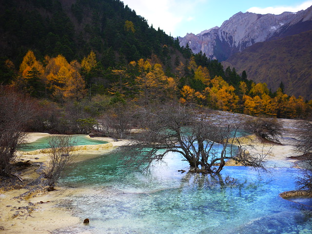 El valle de Huanglong, Sichuan, China