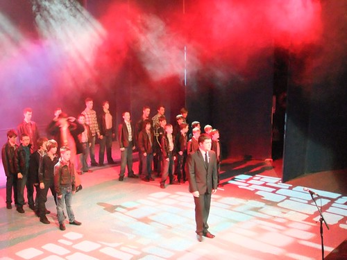 """""""Brothers In Arms"""": Narrator. Ross Miller A scene from Edinburgh Gang Show 2012 dress rehearsal. Photo Michael Walker"""