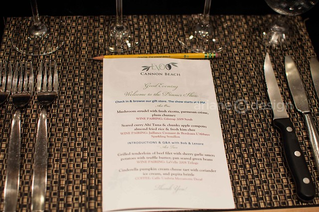 EVOO Cooking School/Dinner Show menu