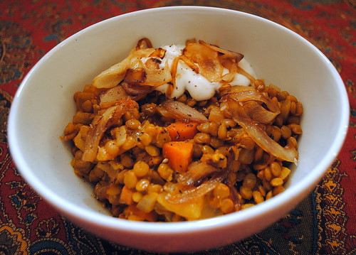 Sweet Onions with Lentil Stew | Clare Cooks!