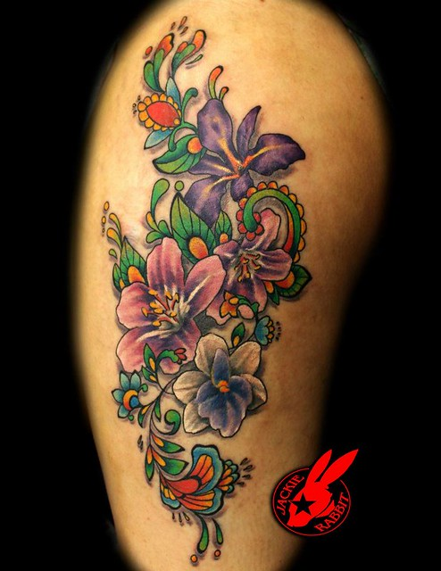 Flower tattoo by jackie rabbit flickr photo sharing for Tattoo roanoke va
