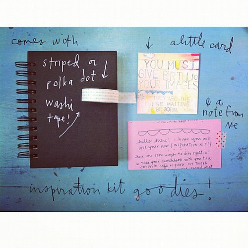 inspiration kit goodies- along with the found paper pack, you'll receive the  perfect sketchbook, polka dot or striped washi & more!