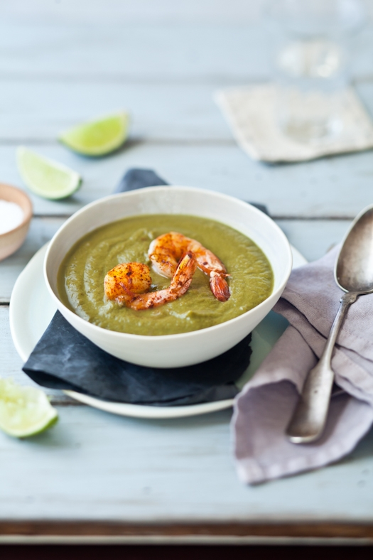 Swiss Chard, Kale, Avocado & Grilled Shrimp Soup 4