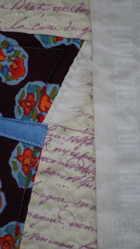 Fringed hood, detail of quilting