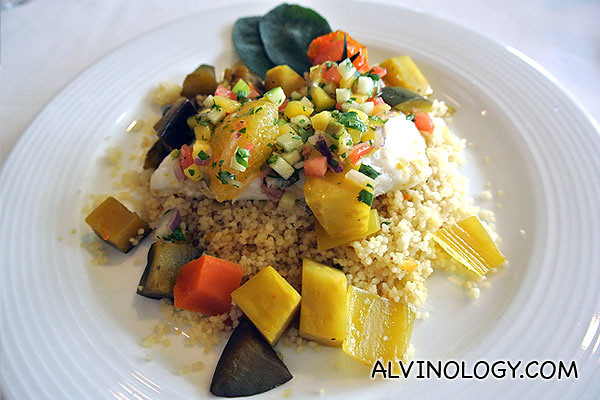 I had this - grilled fish with couscous and veggies