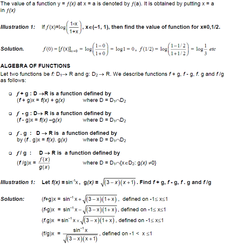CBSE Class 12 Maths Notes: Functions - Values and Algebra of a Function