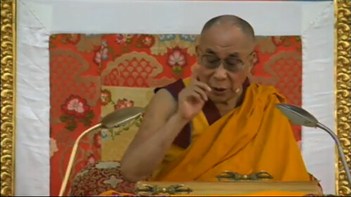 His Holiness the Great 14th Dalai Lama teaching gestures mentioning Sakya Pandita, 18 Great Stages of the Path Commentaries, webcast, Dharamasala, India by Wonderlane