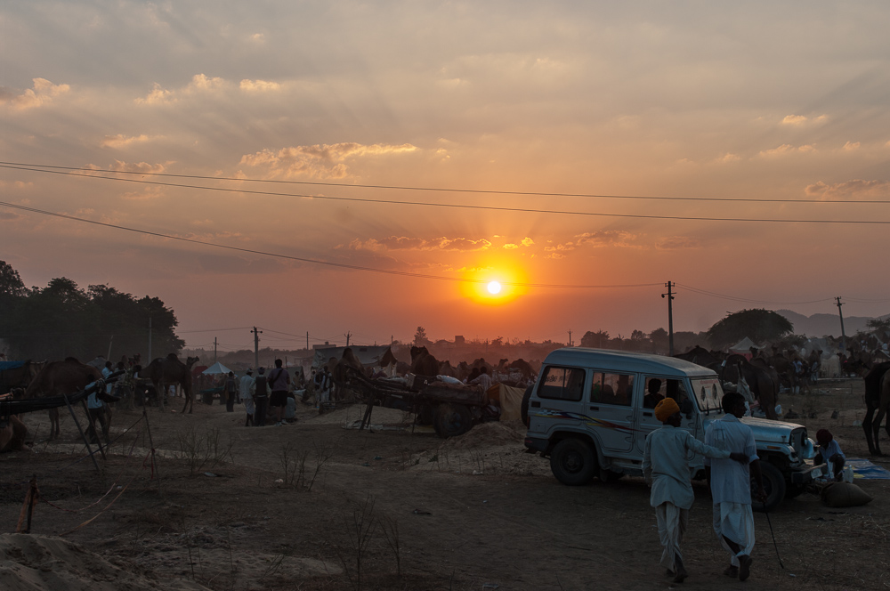 Sunset over Camel Fair in Pushkar