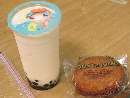 Curry roll and banana bubble tea by Coyoty