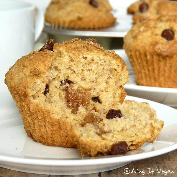 Banana Muffins with Almond Paste Bits and Chocolate Chips