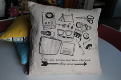 pillow with silkcreened objects from Moonrise Kingdom on it
