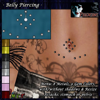 *P* Belly Piercing M3 ~8 Metals-9 Gem Colors~