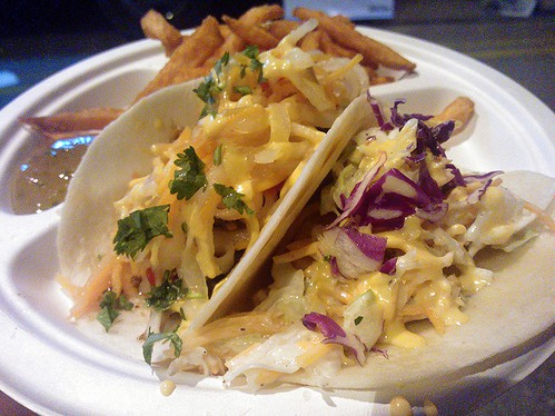 From left: Banh Mi Taco and Crunchy Fish Taco