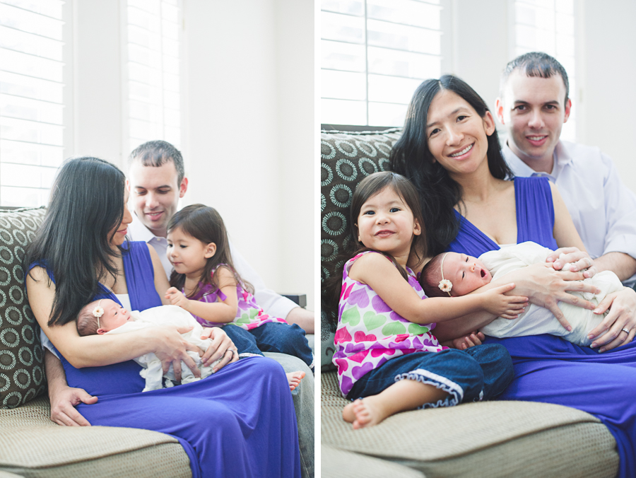 family photo on sofa with newborn baby in dallas texas