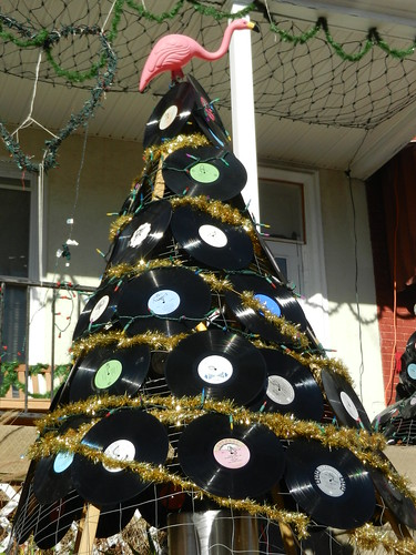 Christmas Tree Made of LP Records
