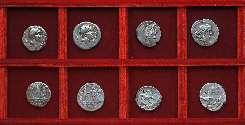 RRC 470 CN.MAGN IMP M.MINAT SABIN Cnaeus Pompey, Minatia, RRC 472 L.PAPIVS CELSVS Papia, Pompey Minatia, Ahala collection Roman Republic