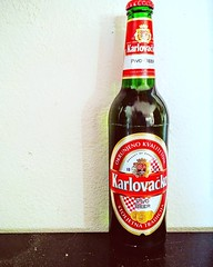 When you have a friend come over for beer and pizza, get the Croatian brand of beer. Karlovacko. #beer #alcohol #friend #croatian #croat #croatia #karlovacko #beverage #product #bottle #dinner #import #easterneurope #european #europe #fall