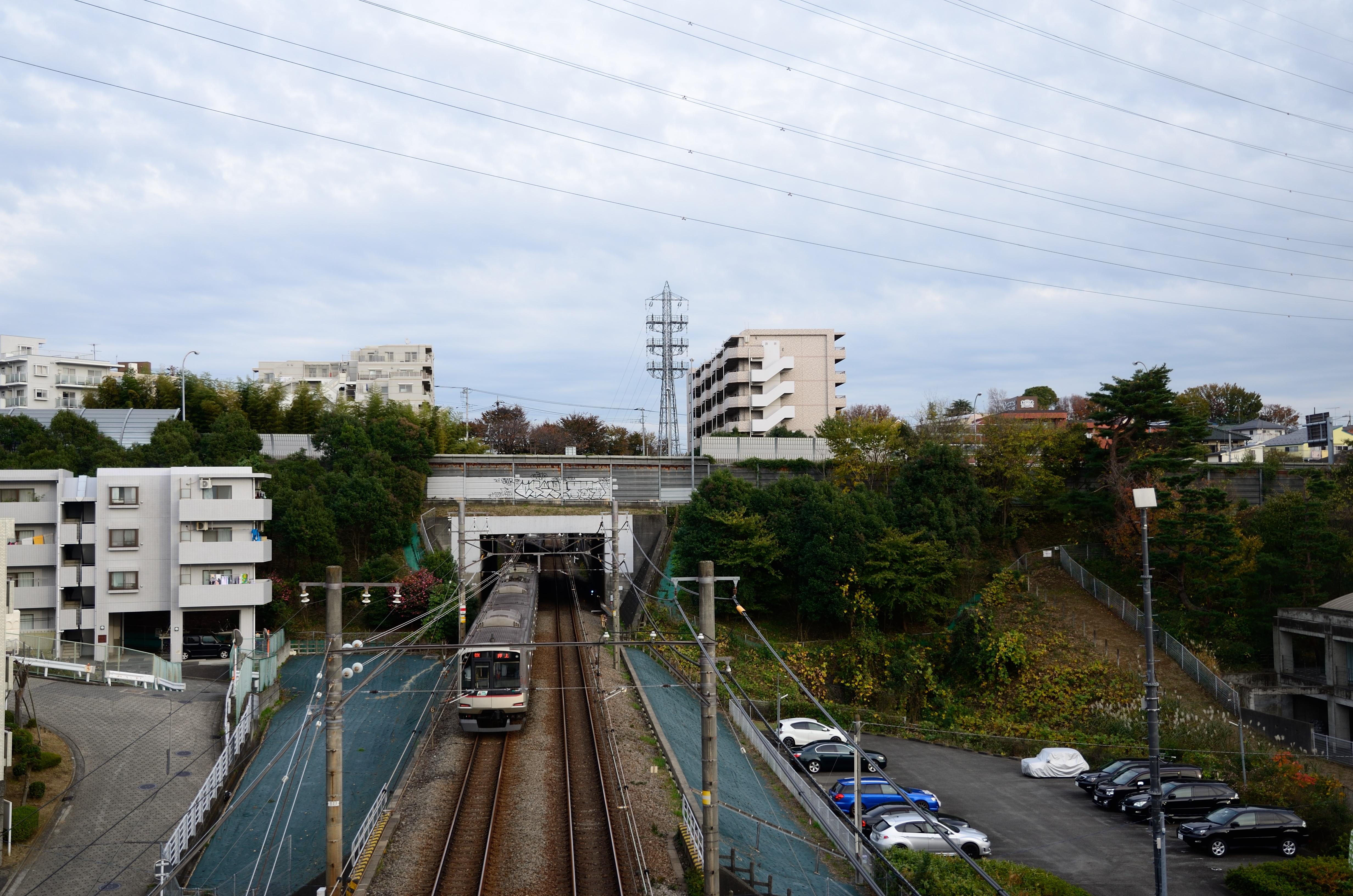 Tokyu 5000 Series Train under Tomei Expressway Bridge 2