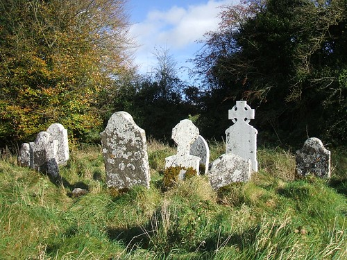 St Munna's church, Taghmon, Westmeath - a cluster of headstones (18th - 20th centuries)