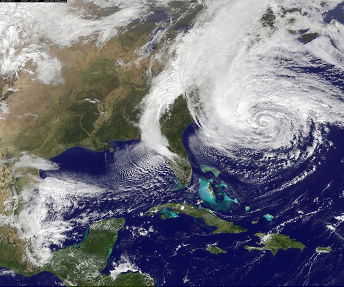Hurricane Sandy approaches the US coast (courtesy of NASA)