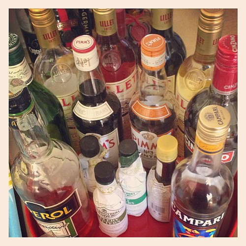 @elgatogrande started reorganizing our bar... This is just our vermouths and bitters selection!
