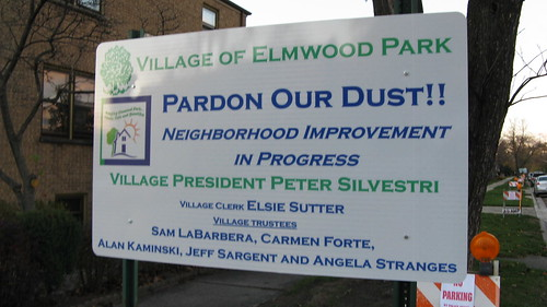 Public works project announcement on North 74th Court.  Elmwood Park Illinois.  Late October 2012. by Eddie from Chicago