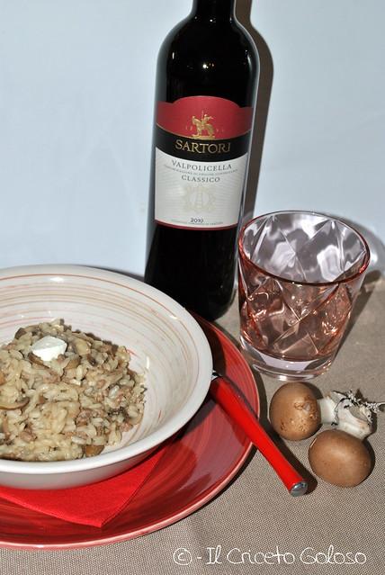 Risotto con carne, funghi e fiorone di capra (1)