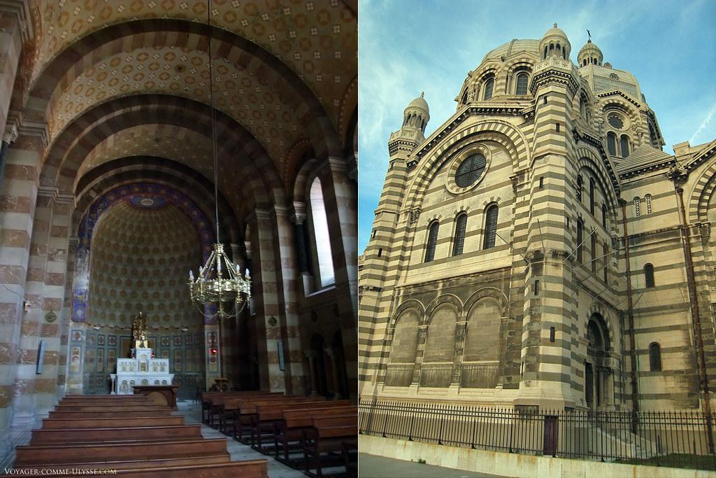 A gauche, la Chapelle Saint Lazare. A droite, façade latérale. On voit bien l'alternance des deux types de pierre.