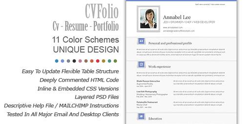 CV Folio CV Resume Portfolio Email Newsletter Template
