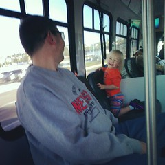 On the shuttle to the parking lot in San Diego.