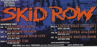November 2003 Skid Row UK Tour