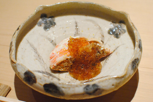 crab with roe, dashi jelly